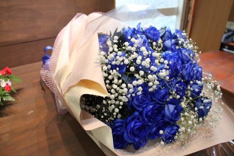 ブルーの薔薇、お祝、花束、いわき市,小名浜,花屋,花国湘南台店