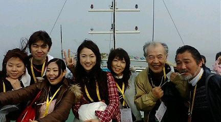 長江下り遊覧船上で