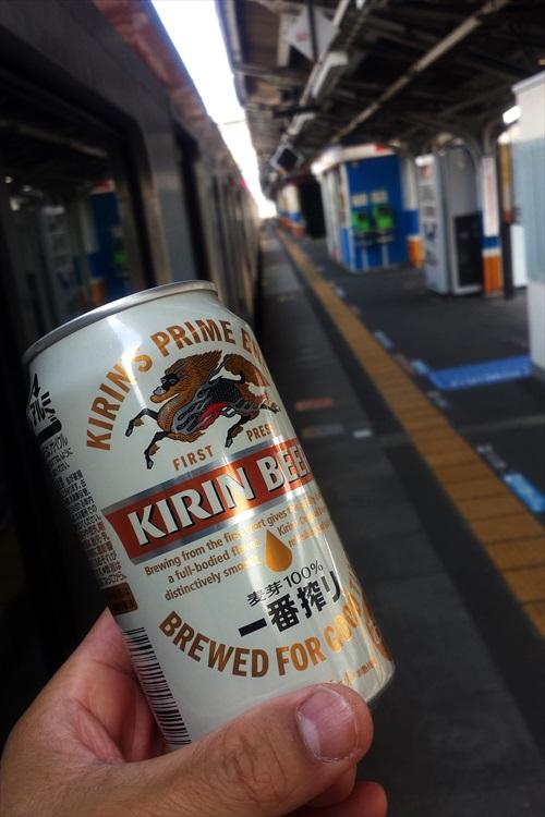 ローカル駅でビール