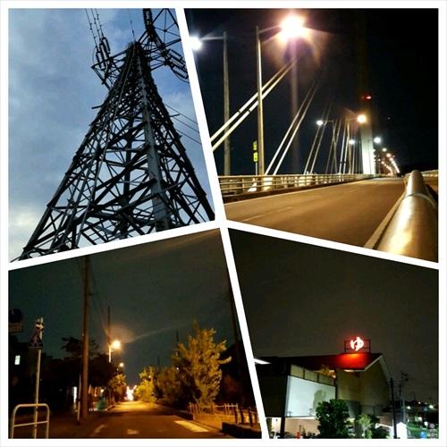 鉄塔と夜ラン