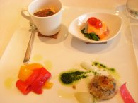 Apes.-ニンジンライスw/自家製カラスミ、鯛のカルパッチョ・パプリカのソース&菜の花、アジのオーブン焼きみたいなの、パプリカのマリネ