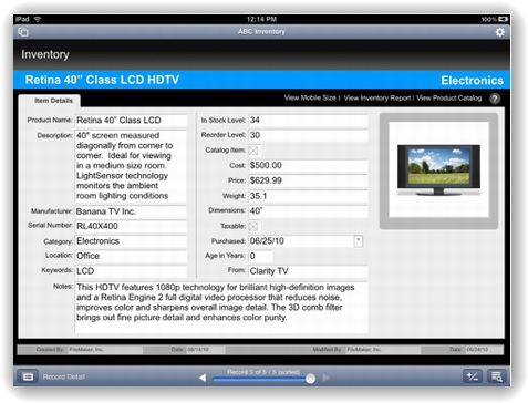 FileMaker Go for iPad 画像2