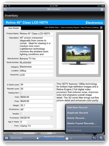 FileMaker Go for iPad 画像3