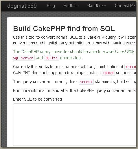 BuildCakePHPfindfromSQL