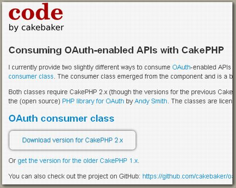 OAuth consumers for CakePHP - by cakebaker