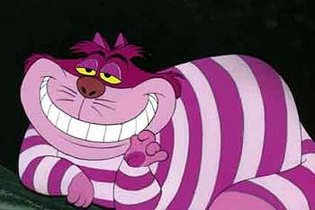 ジョン・テニエルの描く挿絵よりもスタンダードになっている、ディズニー長篇アニメ『不思議の国のアリス』(1951) 版のチェシャ猫。  ピンクの縞がチャームだが、今回 ...