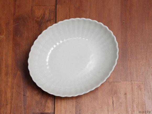 村上雄一 白磁輪花楕円鉢