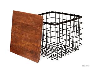 IRON ワイヤー&ウッド スツールボックス