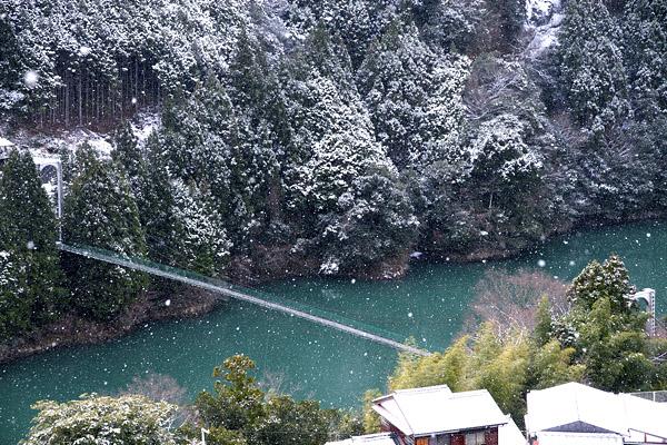 雪の猿飼吊り橋