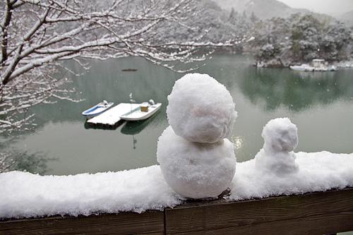 雪だるまと二津野湖