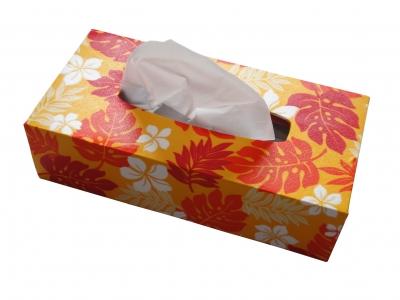 手づくり ハワイアン柄ティッシュボックスケース