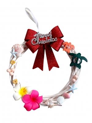 <Xmas>手作り/ハワイアンクリスマス貝殻リース30cmMerry Christmas