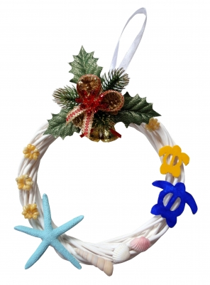 <Xmas>手作り/ハワイアンクリスマス貝殻リース20cmスターフィッシュ