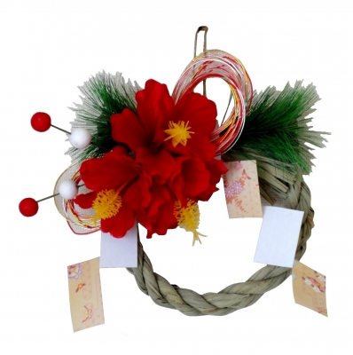 しめ飾り/お正月<洋風しめ縄>手作り1点ものハイビスカス小
