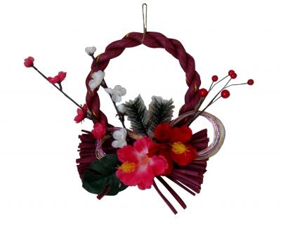 しめ飾り/お正月<洋風しめ縄>手作り1点ものハイビスカス