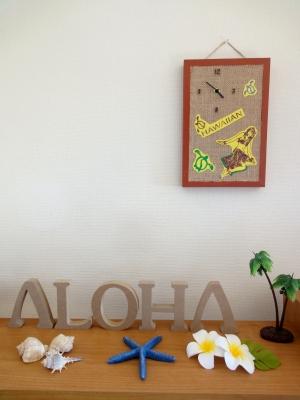 【手作り】ハワイアン壁掛け時計 イエロー