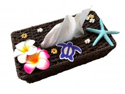 <手づくり>ハワイアン 籐かごティッシュボックスケース