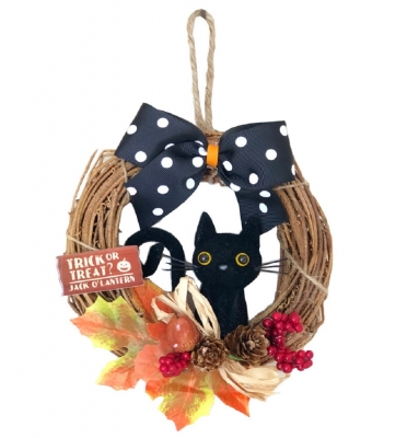 ハロウィン リース 黒猫<秋 装飾 壁掛け インテリア>