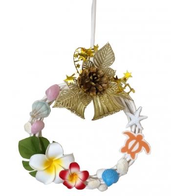 クリスマス貝殻リース ハワイアン 中<手づくり>20cm A