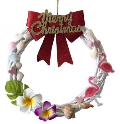 クリスマス貝殻リース ハワイアン 大<手づくり>30cm A