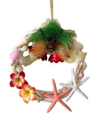 クリスマス貝殻リース ハワイアン 中<手づくり>20cm