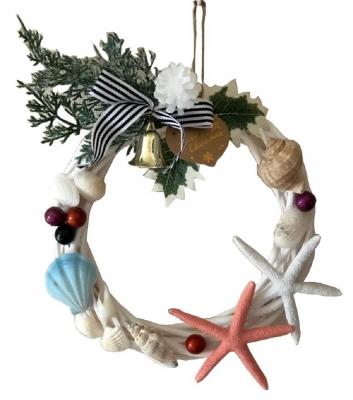 クリスマス貝殻リース ハワイアン 中<手づくり>20cm C