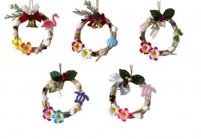 クリスマス貝殻リース ハワイアン 小<手づくり>15cm