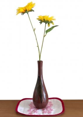 テーブルセンター<花瓶敷き>ハワイアンキルト柄