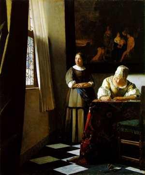 フェルメール「手紙を書く婦人と召使」
