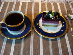 blueberry mousse with gold flake