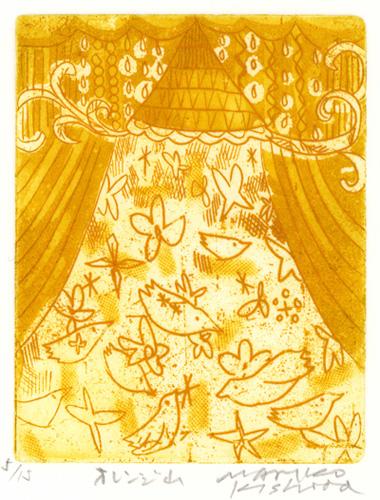 岸田真理子 銅版画「オレンジ山」