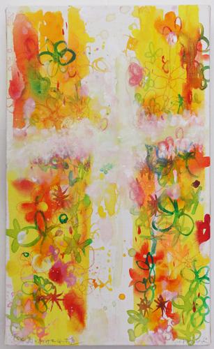 岸田真理子 ペインティング「花と鳥のあけてくれる道」