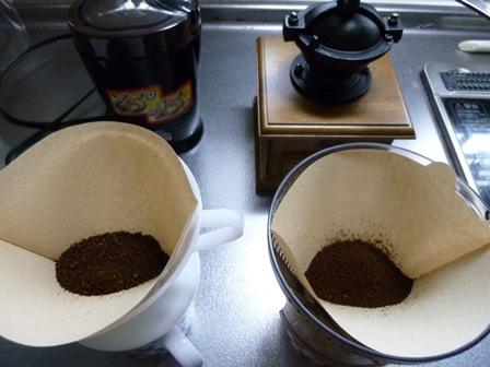 コーヒー豆挽いた後