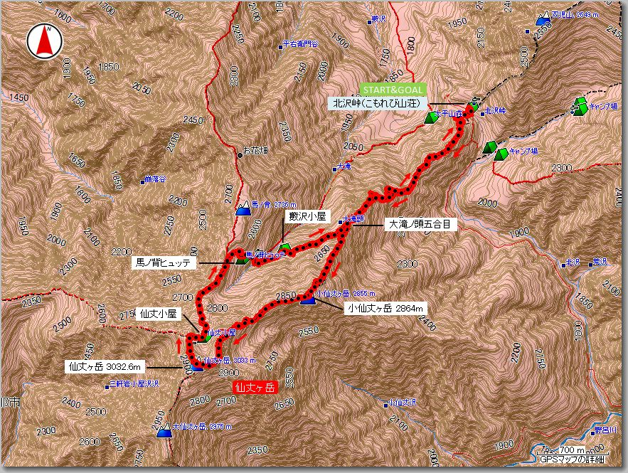 仙丈ヶ岳マップ140905