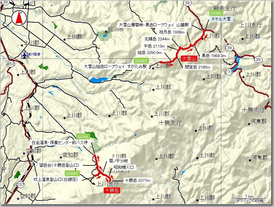 大雪山・十勝岳マップ