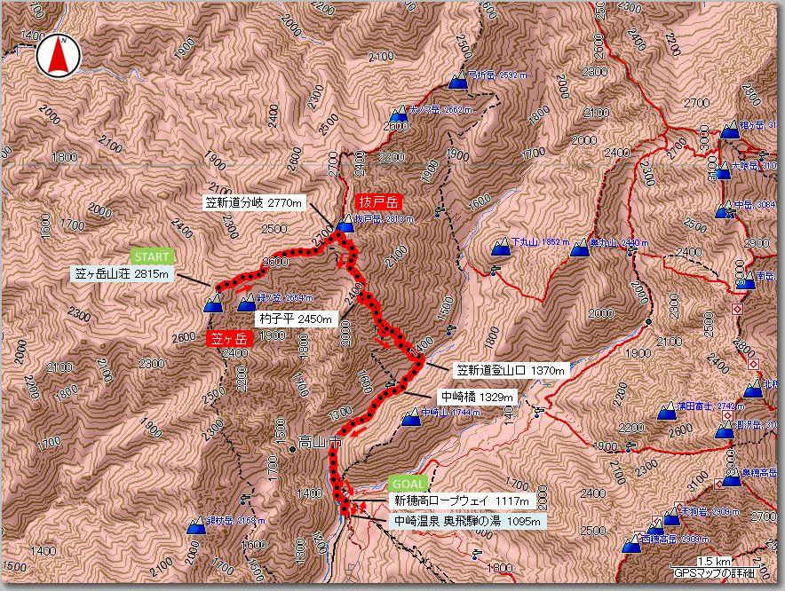 笠ヶ岳マップ