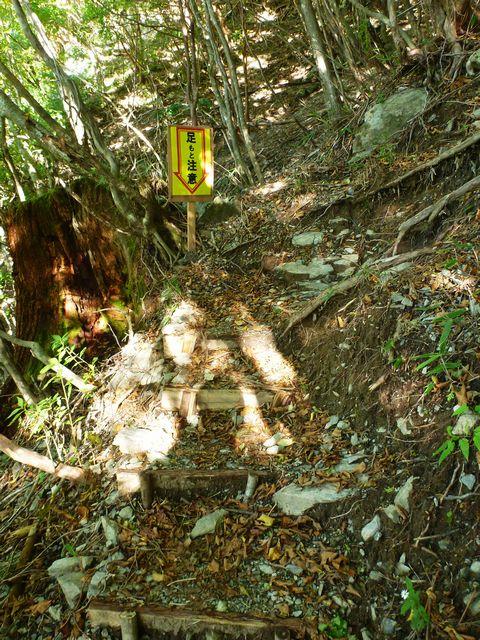 避難小屋登山道