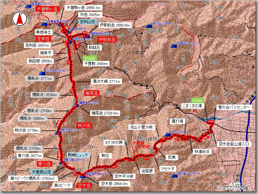 木曽駒ヶ岳マップ