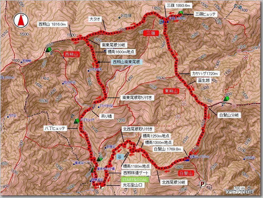 西熊山・三嶺・白髪山マップ