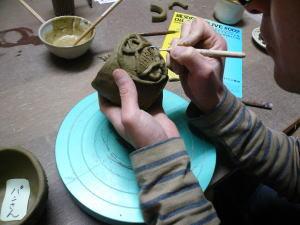 土器カップ制作模様