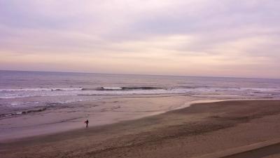 真冬の黄昏の海