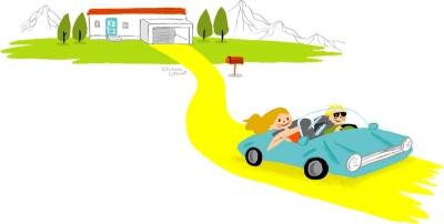 車と家のイラスト