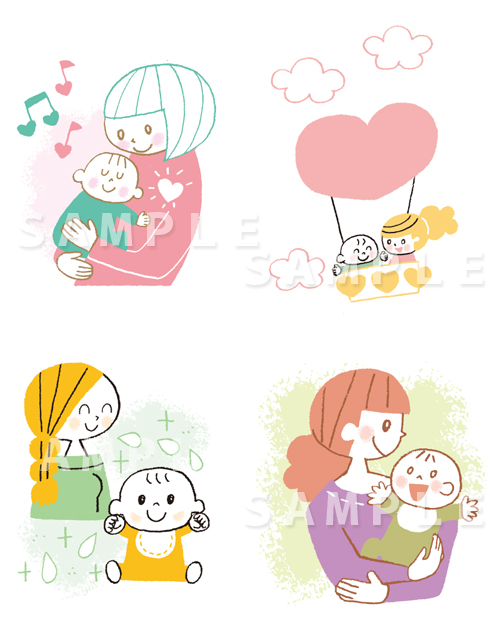 ママと赤ちゃんのイラスト(母子のイラスト)