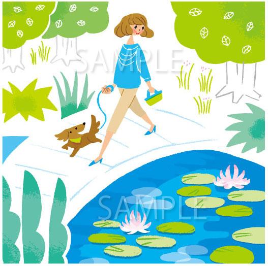 女性と犬のイラスト