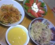 パスタとサラダとスープ。