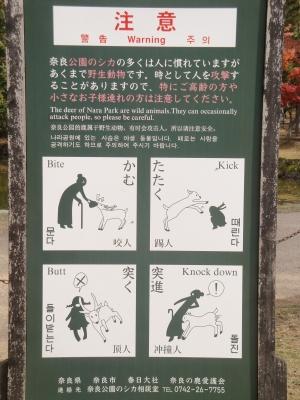 奈良公園の鹿に対する注意書き