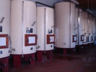 ワインが熟成されているタンク