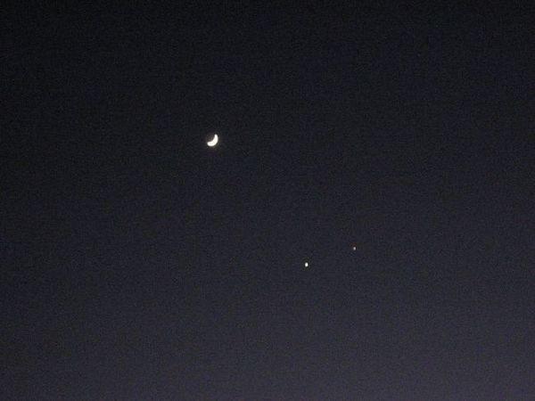 金星と木星と三日月 12.2(出不精日記より)