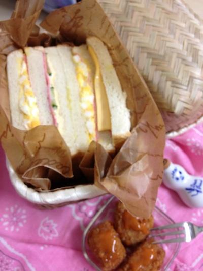 竹製弁当箱deサンドイッチ弁当