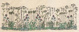 木版画「草の中に分け入って」